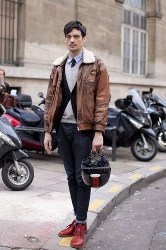 How to wear: light blue long sleeve shirt, grey v-neck sweater, black cardigan, brown leather bomber jacket