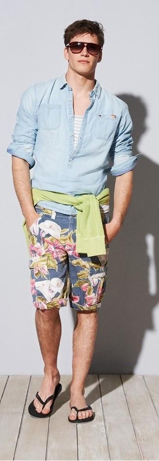 How to wear: green-yellow v-neck sweater, light blue denim shirt, grey horizontal striped tank, navy floral shorts