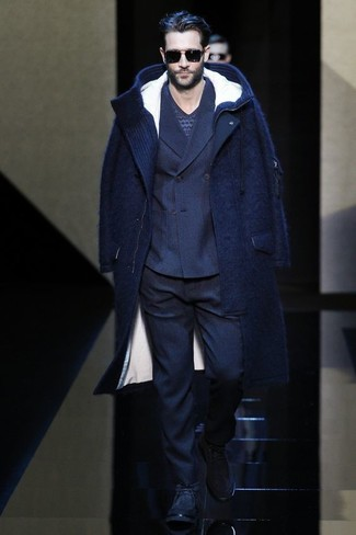 How to wear: navy wool dress pants, navy fair isle v-neck sweater, navy wool double breasted blazer, navy overcoat