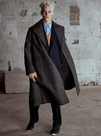 How to wear: light blue dress shirt, tan v-neck sweater, black double breasted blazer, charcoal plaid overcoat