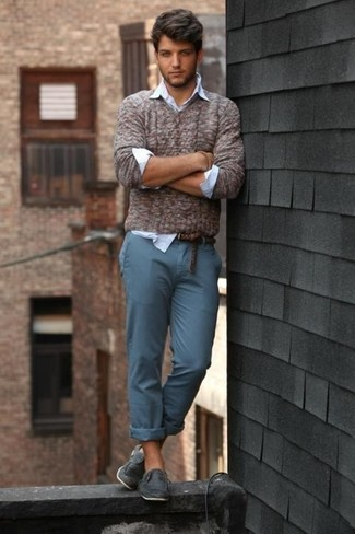How to wear: brown v-neck sweater, light blue dress shirt, teal chinos, navy leather boat shoes