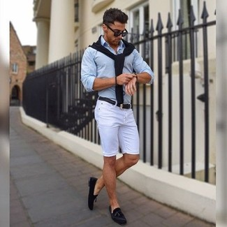 How to wear: black v-neck sweater, light blue dress shirt, white shorts, black suede tassel loafers
