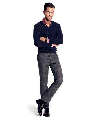 How To Wear Grey Dress Pants With a Blue Sweater | Men's Fashion