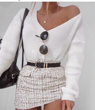 How to wear: white v-neck sweater, beige tweed mini skirt, black leather backpack, black leather belt