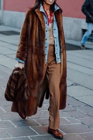 How to wear: tan henley shirt, white v-neck t-shirt, light blue denim jacket, brown fur coat