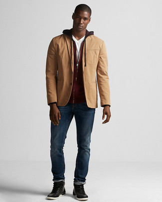 How to wear: navy jeans, white v-neck t-shirt, burgundy hoodie, tan cotton blazer