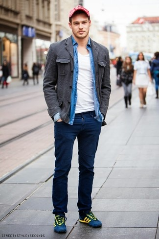 How to wear: navy chinos, white v-neck t-shirt, blue chambray long sleeve shirt, charcoal cotton shirt jacket