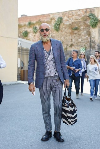 How to wear: grey vertical striped wool dress pants, navy plaid v-neck t-shirt, grey plaid waistcoat, blue check wool blazer
