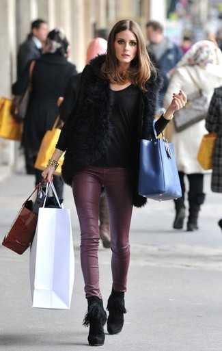 Olivia Palermo wearing Black Fur Vest, Black Long Sleeve T-shirt, Burgundy Leather Skinny Pants, Black Fringe Suede Ankle Boots