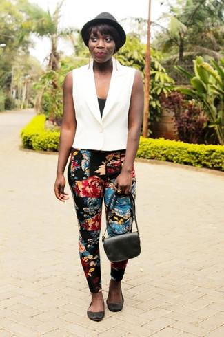 How to wear: white vest, black tank, black floral skinny pants, black suede ballerina shoes