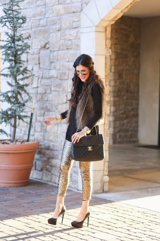 How to wear: charcoal fur vest, black turtleneck, gold sequin skinny pants, black suede pumps