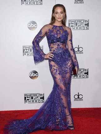How to wear: violet lace evening dress, black suede heeled sandals
