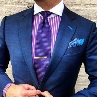 How to wear: aquamarine print pocket square, violet polka dot tie, purple vertical striped dress shirt, navy check blazer