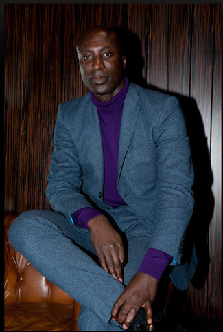 How to wear: violet turtleneck, teal wool suit
