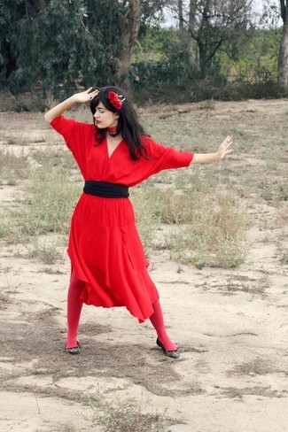 How to wear: red floral headband, black waist belt, black canvas ballerina shoes, red midi dress