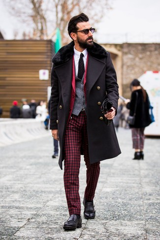 How to wear: white dress shirt, grey wool waistcoat, red blazer, black fur collar coat