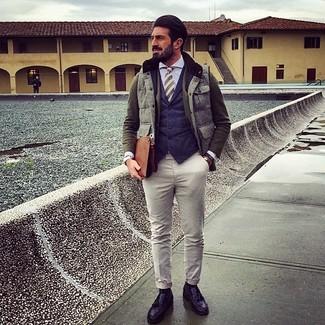 How to wear: light blue dress shirt, navy waistcoat, olive wool blazer, grey gilet
