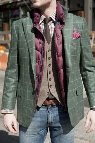 How to wear: brown plaid dress shirt, brown wool waistcoat, dark green plaid blazer, purple quilted gilet