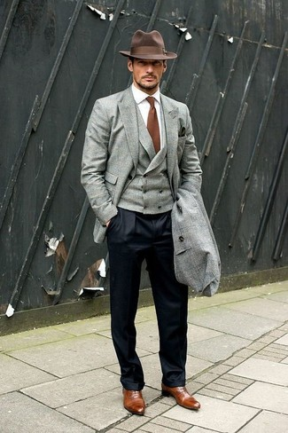 How to wear: white dress shirt, grey waistcoat, grey blazer, grey overcoat