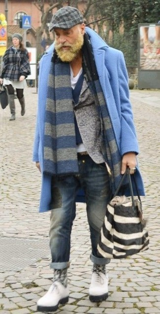 How to wear: white v-neck t-shirt, navy wool waistcoat, grey wool blazer, light blue overcoat