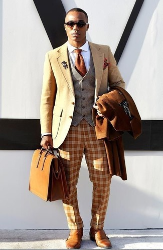 How to wear: white dress shirt, grey wool waistcoat, tan wool blazer, tobacco overcoat