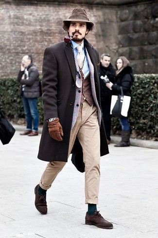 How to wear: light blue dress shirt, dark brown waistcoat, light blue check wool blazer, dark brown overcoat
