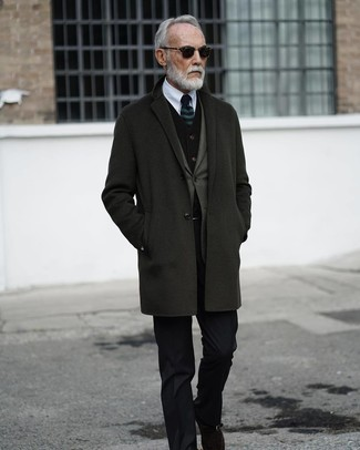 How to wear: white dress shirt, black velvet waistcoat, olive blazer, charcoal overcoat