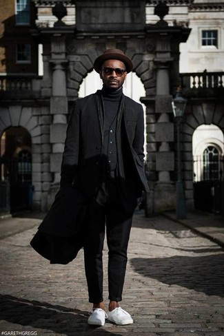 How to wear: black turtleneck, black waistcoat, black blazer, black overcoat