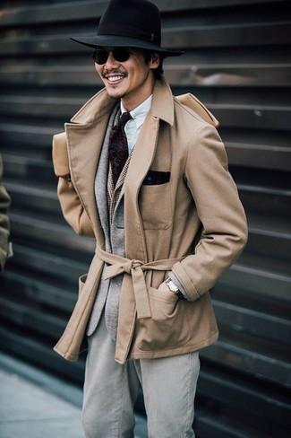 How to wear: white long sleeve shirt, brown check waistcoat, grey wool blazer, tan pea coat