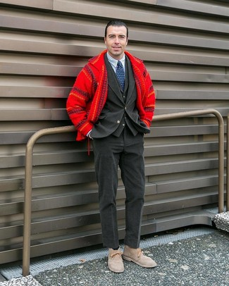 How to wear: white and navy vertical striped dress shirt, charcoal waistcoat, charcoal corduroy blazer, red wool shirt jacket