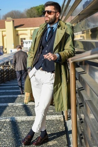 Men's Looks & Outfits: What To Wear In a Dressy Way: An olive trenchcoat looks especially dapper when combined with white chinos. A great pair of burgundy leather tassel loafers is an effective way to transform your look.