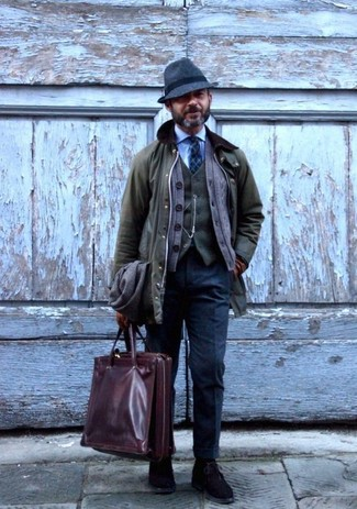 How to wear: light blue dress shirt, olive wool waistcoat, brown cardigan, olive barn jacket