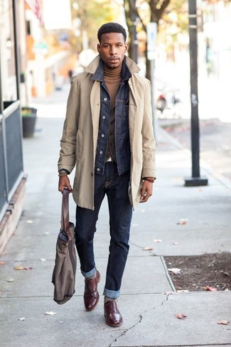 How to wear: brown turtleneck, charcoal waistcoat, navy denim jacket, beige trenchcoat