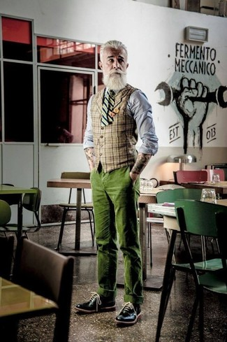 How to wear: tan plaid waistcoat, grey chambray dress shirt, olive corduroy chinos, black leather brogues