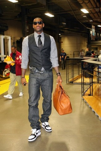 How to wear: black waistcoat, white and black gingham dress shirt, charcoal jeans, white and black high top sneakers