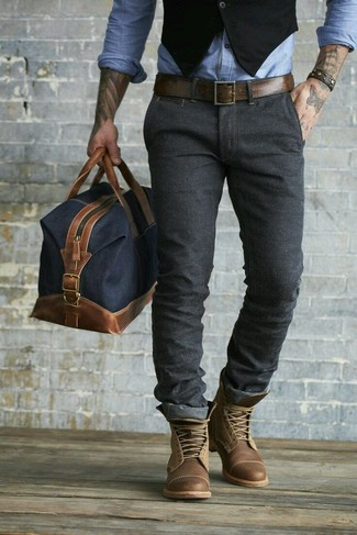 How to wear: black waistcoat, light blue chambray long sleeve shirt, charcoal chinos, brown leather casual boots