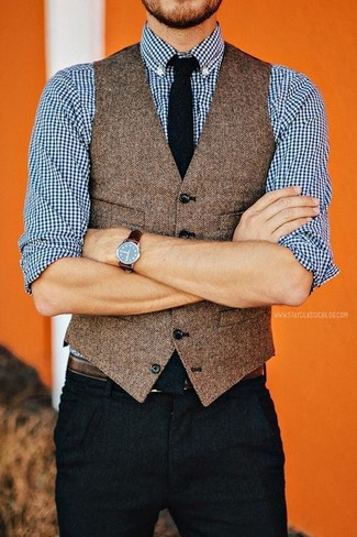 How to wear: brown herringbone wool waistcoat, white and navy gingham long sleeve shirt, black chinos, black tie