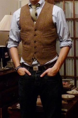 No matter where you go over the course of the evening, you'll be stylishly prepared in a brown wool waistcoat and navy blue jeans.
