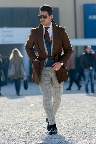 How to wear: white dress shirt, navy waistcoat, grey check wool suit, brown overcoat