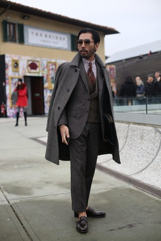 How to wear: white and brown gingham dress shirt, dark brown waistcoat, dark brown suit, dark brown gingham overcoat