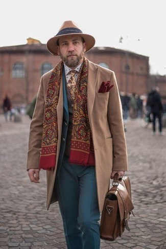 How to wear: white polka dot dress shirt, brown wool waistcoat, blue suit, camel overcoat