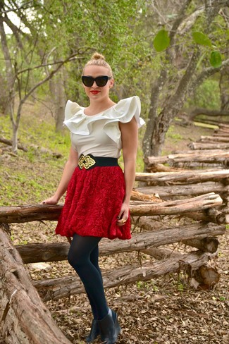 How to wear: black and gold elastic waist belt, black leather wedge ankle boots, red textured full skirt, white silk sleeveless top