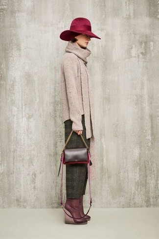 How to wear: burgundy leather crossbody bag, burgundy leather wedge ankle boots, olive wool tapered pants, beige crew-neck sweater