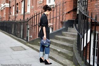 How to wear: navy leather clutch, black suede wedge pumps, blue boyfriend jeans, black vertical striped blazer
