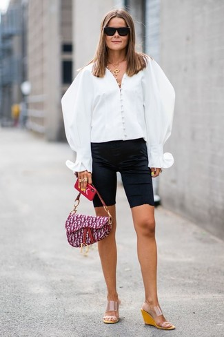 How to wear: purple print canvas satchel bag, clear rubber wedge sandals, black bike shorts, white button down blouse