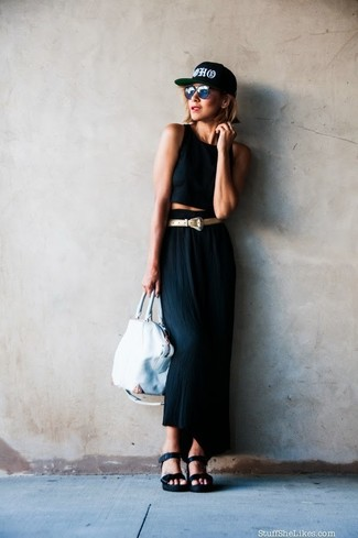 How to wear: white leather tote bag, black leather wedge sandals, black maxi skirt, black cropped top