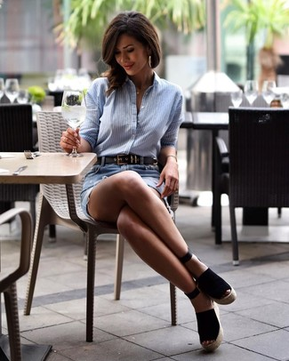 How to wear: black leather belt, black suede wedge sandals, light blue ripped denim mini skirt, light blue vertical striped dress shirt