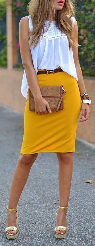 How to wear: brown snake leather clutch, gold leather wedge sandals, mustard pencil skirt, white crochet sleeveless top