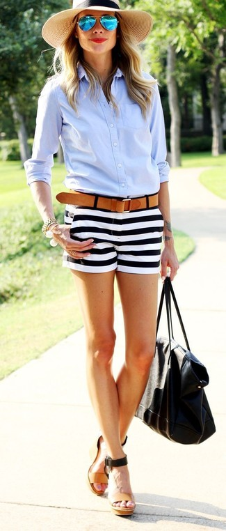 How to wear: black leather tote bag, tan leather wedge sandals, white and black horizontal striped shorts, light blue dress shirt