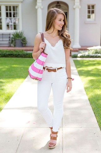 How to wear: pink horizontal striped tote bag, brown leather wedge sandals, white skinny jeans, white cropped top